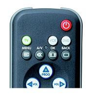 De aan- en uitknop op de afstandsbediening: de rode kleur, bovenaan en icoontje zijn standaard.