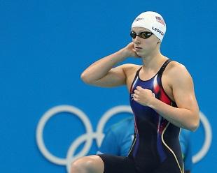 Katie Ledecky op de Olympische Spelen in Rio 2016.