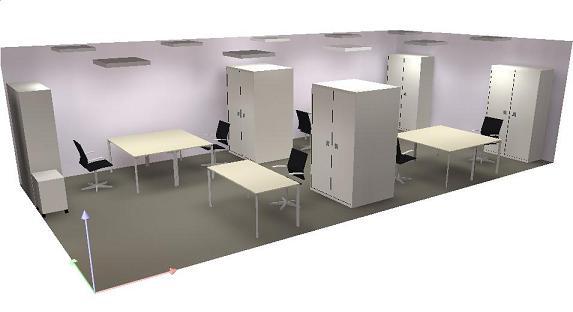 Grondplan met kantoorindeling en armaturen