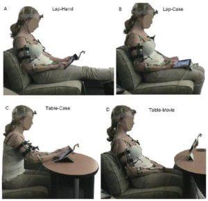 Tablet in verschillende houdingen