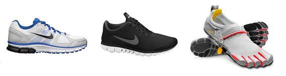 Loopschoenen Nike Pegasus (neutraal), Nike Free 3.0 (half minimalistisch) en Vibram FiveFingers (minimalistisch)