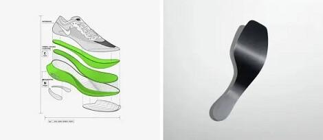 Opbouw van de Nike Vaporfly met dikke zool met verende schuim en een carbonplaat.