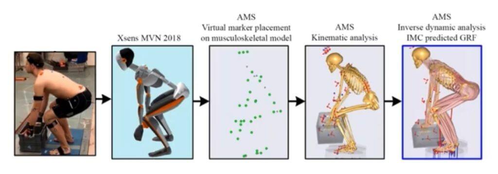 Data van 3D houdingsanalyse worden omgezet in een musculoskeletaal model.