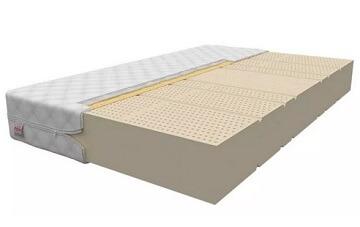 Latex matras met zones die ondersteuning doorgeven en natuurlijk materialen in de hoes.