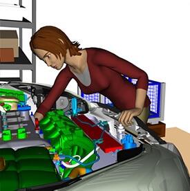 3d computermodel simuleert werkhouding tijdens de ontwerpfase.